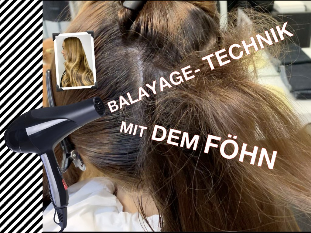 Balayage Technik erarbeitet mit dem Föhn