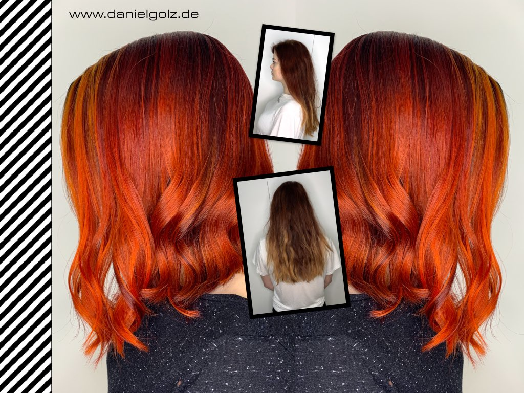 Balayage Technik & Block Highlights ROT Veredelung