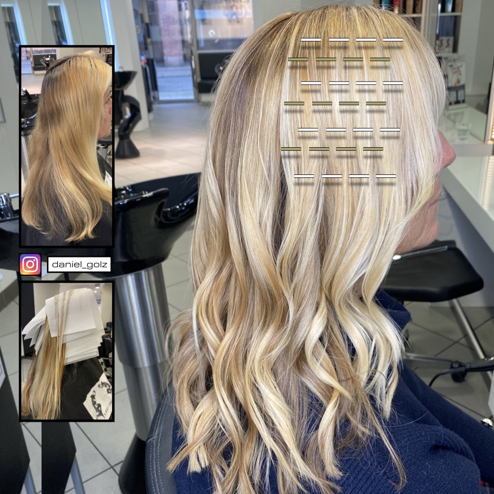 Strähnen Technik Blond